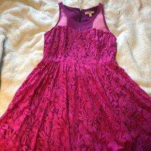 Love, Fire Pink Floral Lace Dress